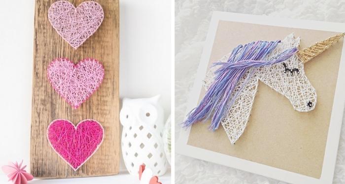 comment faire un objet décoratif de bois et de fil, tableau de bois massif avec petits coeurs en fil rose pâle et rose fuchsia