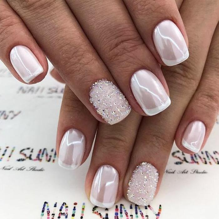 manucure mariage splendide, ongle french nacré forme rectangulaire, comment décorer ses ongles