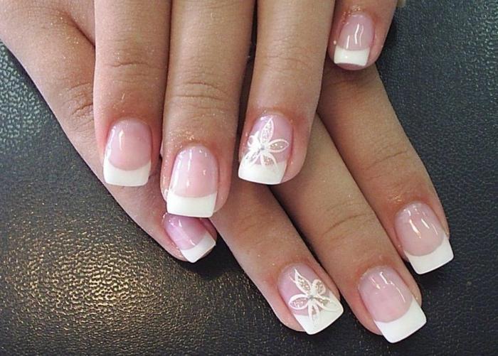 nail art original pour le grand jour sur des ongles carrés, les tendances dans la manucure mariage
