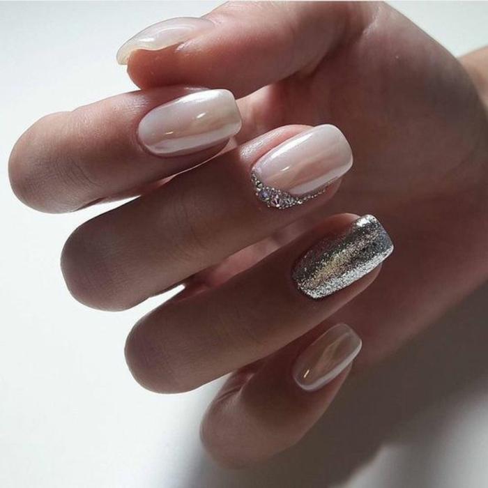 manucure vernis gel en rose pale, tendances pour les ongles des mariées de 2018
