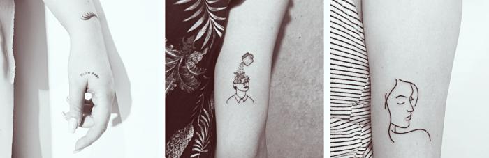 petit dessin à design lettres cursives minuscules sur la main, tatouage à design féminin avec visage et tête en fleurs