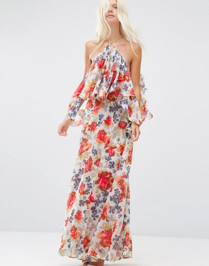 modèle de robe longue avec top en couches et col asymétrique, vêtement de plage pour femme à design floral
