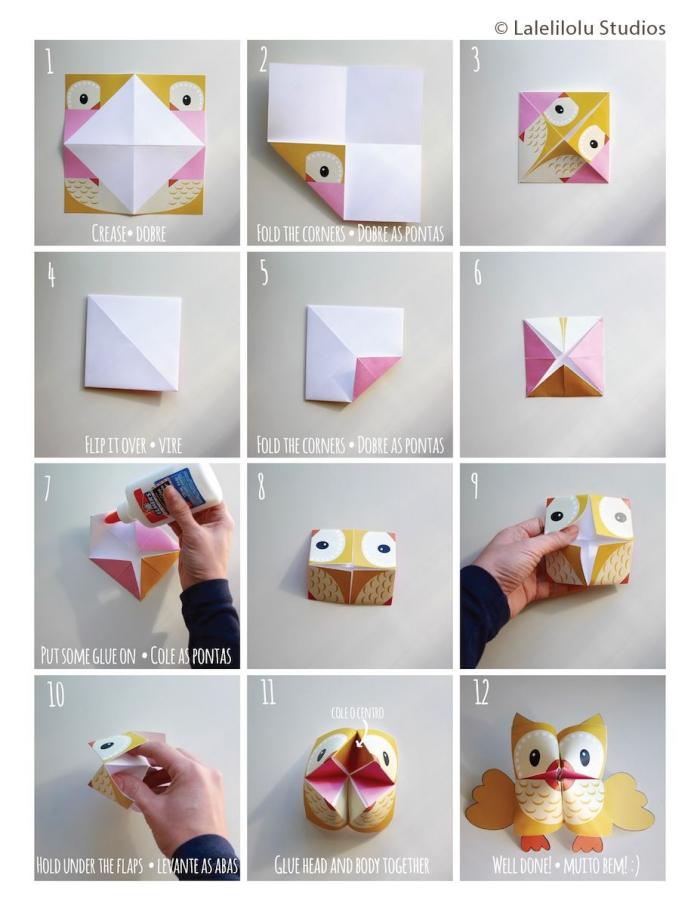 idée de bricolage maternelle ludique sur le thème des enfants, les gabarits et les étapes de pliage origami animaux facile gratuit