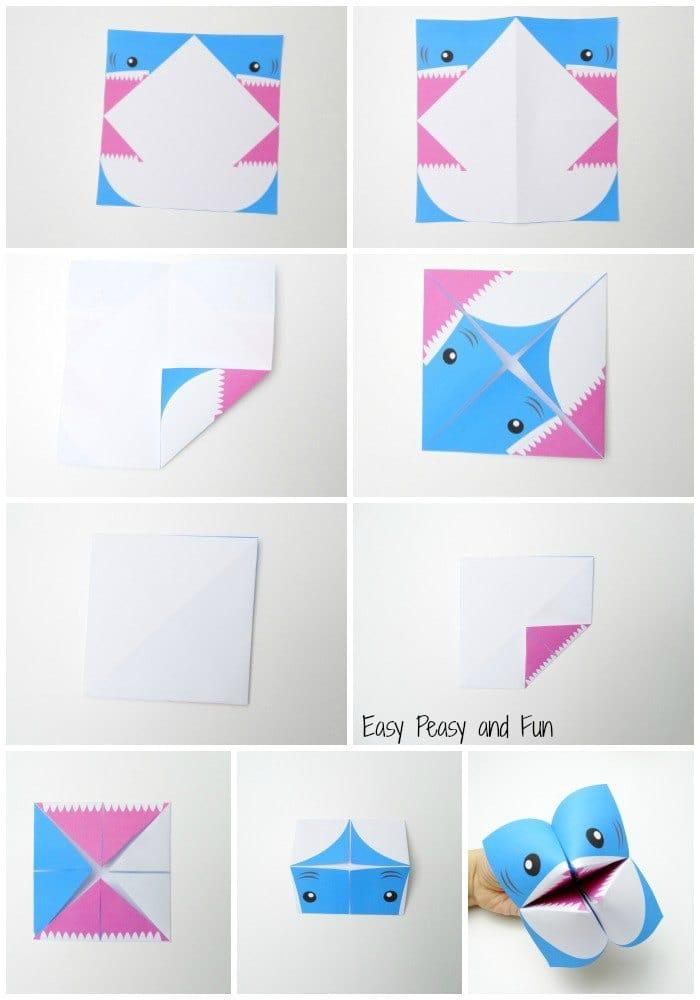 idée pour une activité pliage originale sur le thème des animaux, modèle de salière requin réalisé à partir d'un gabarit à télécharger