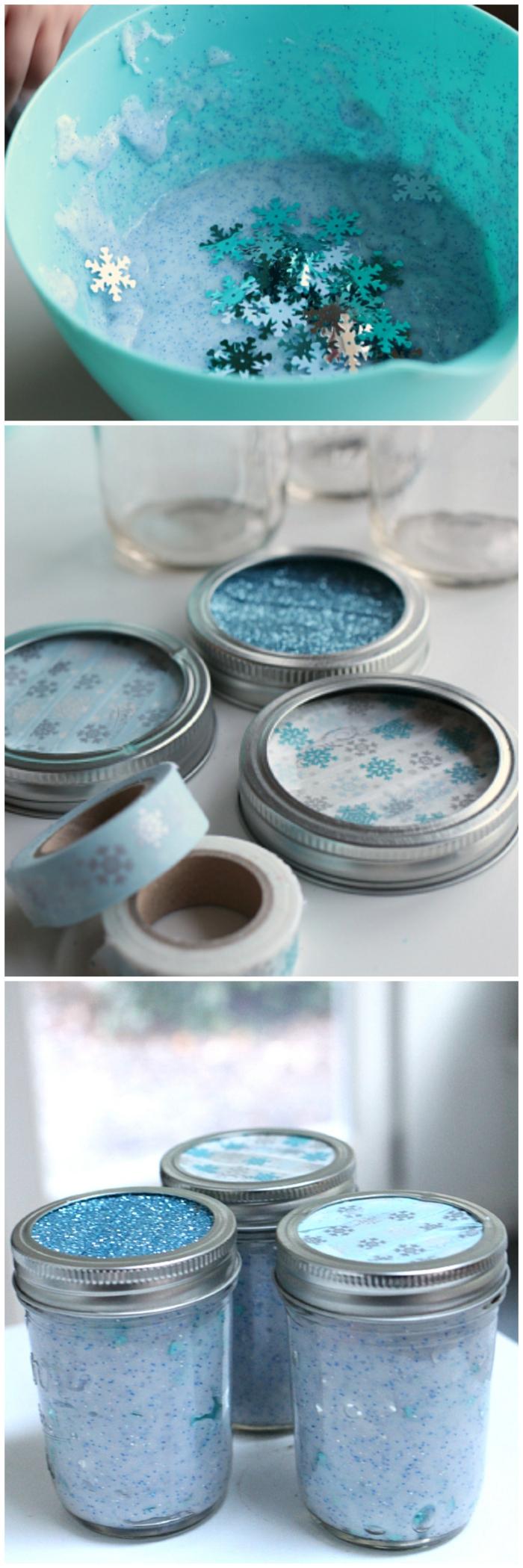 recette du slime d'hiver à paillettes étoiles à offrir comme cadeau d'invité dans un joli bocal décoré masking tape