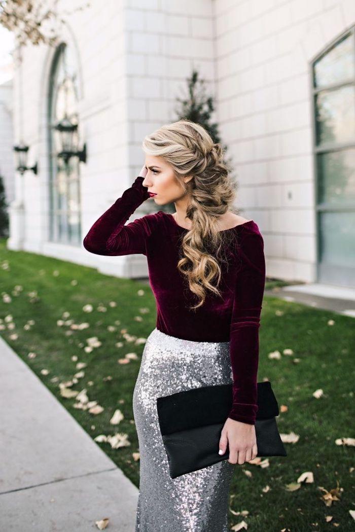 S'habiller bien pour le mariage d une amie robe champetre élégante longue robe deux pieces paillettes blouse long manche velours