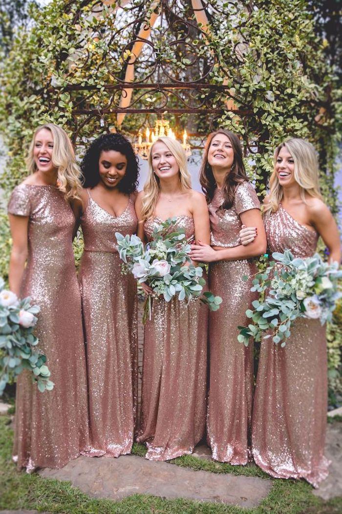 Robe longue pour mariage tenue habillée femme printemps robe à porter paillettes rose dore robe demoiselles dhonneur