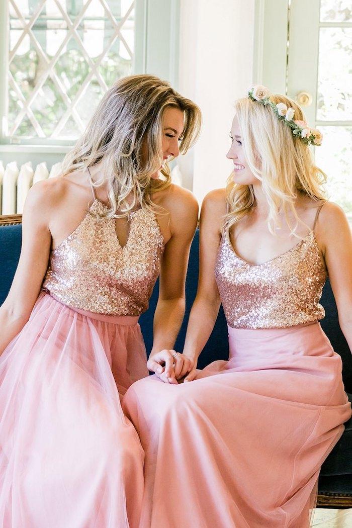 Magnifique idеe tenue habillée pour mariage savoir comment s'habiller robe longue rose pale top paillettée