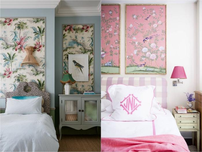 idée créative pour une déco murale encadrée dans la chambre à coucher, comment faire une tete de lit en papier peint vintage encadré
