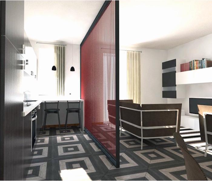 panneau de séparation pour cuisine et salon pour appartement petite surface