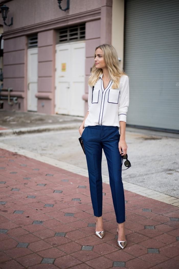 idée superbe pour une tenue professionnel de style casual chic avec pantalon bleu foncé et chemise blanche