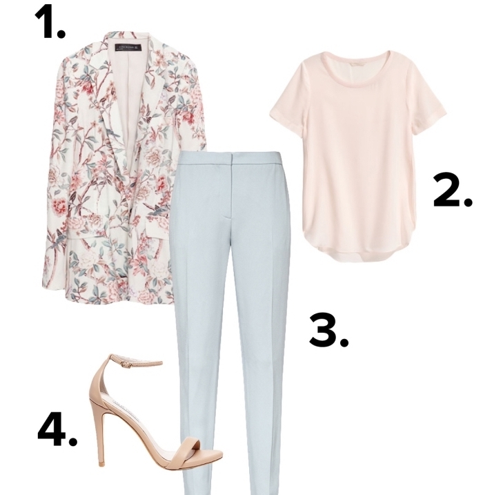 code vestimentaire pour entretien d'embauche, pantalon blanc à combiner avec blouse nude aux manches courtes