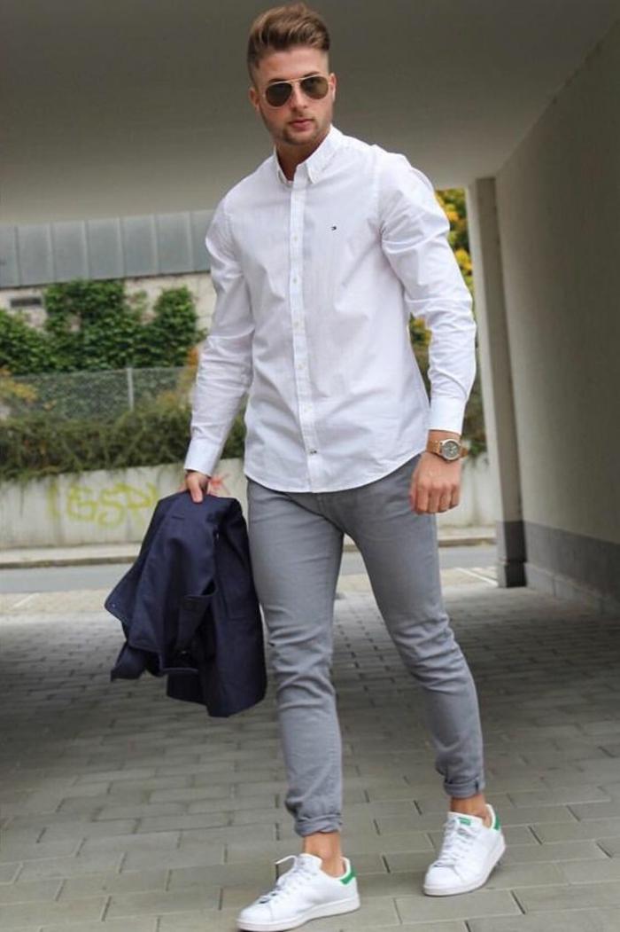 Pantalon noir chemise blanche veste grise