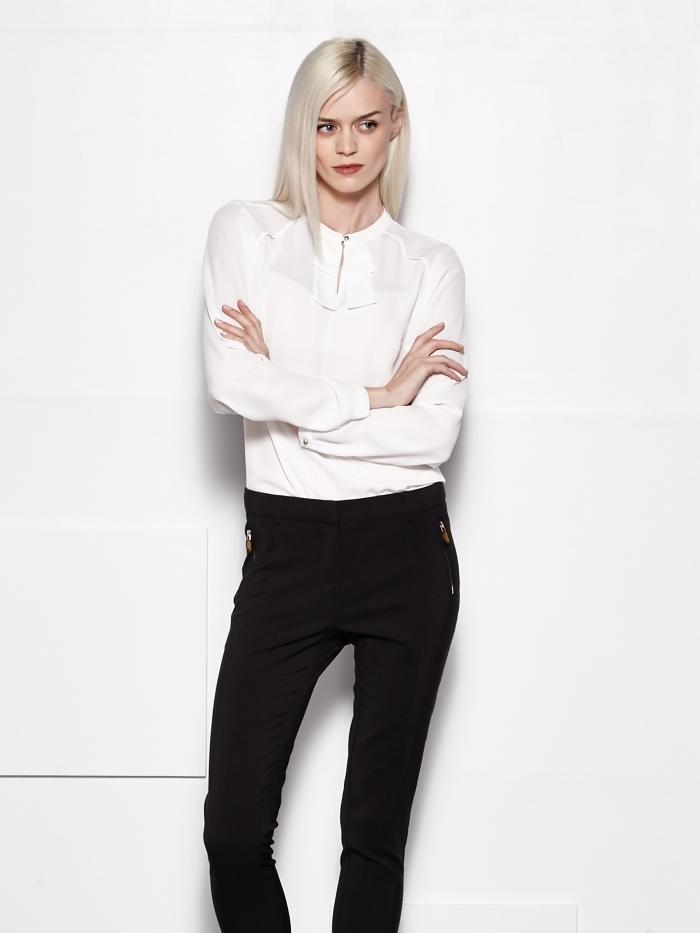modèle de vêtement de travail professionnel en blanc et noir, tenue d'embauche avec chemise blanche et pantalon slim noir