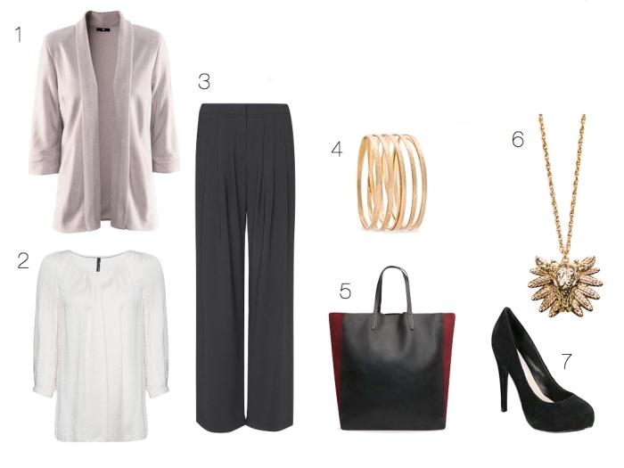 quel vêtement de travail professionnel choisir pour un entretien, gilet beige combiné avec blouse blanche et pantalon fluide noir