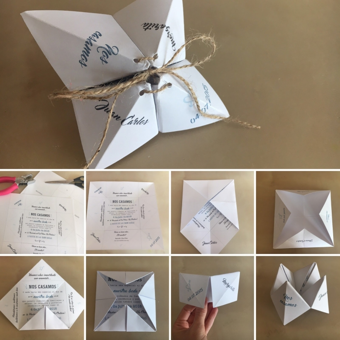 papeterie de mariage vintage sur le thème d'origami, joli faire-part de mariage en forme de cocotte vintage à ficelle de lin