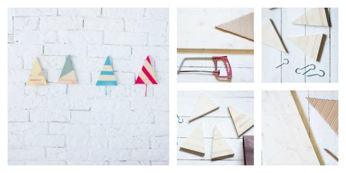 comment faire un patere original en petits triangles de bois colorés avec des accroches pour suspendre vetements
