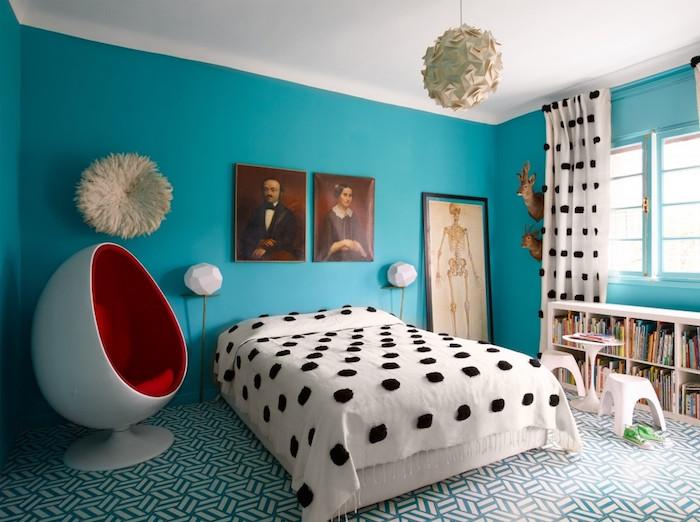 peinture chambre fille bleu turquoise pour déco moderne design originale