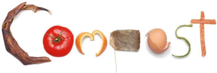 illustration compost en lettres avec les produits à utiliser, coquilles d'oeufs avec pelures de fruits et de légumes à utiliser pour compost