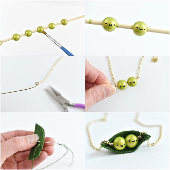 comment réaliser un collier petits pois original à deux rangs pour la fête des mères, idée originale pour une activité manuelle fete des meres