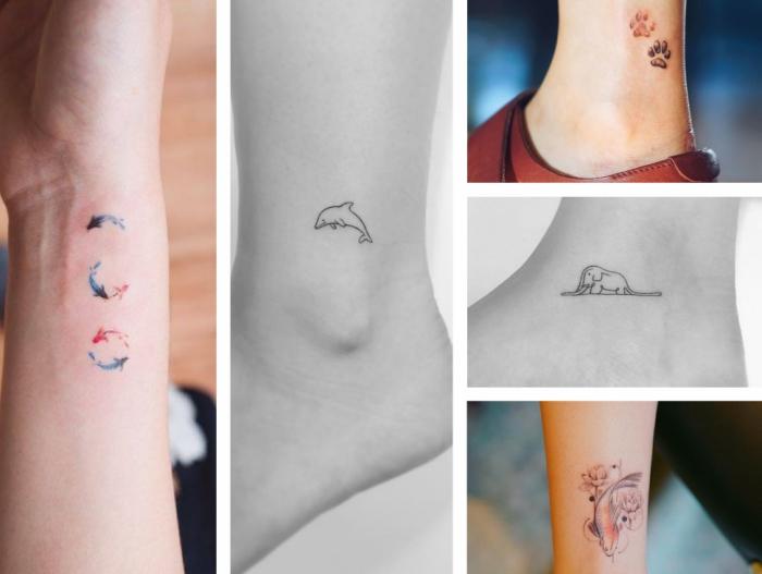 tatouage minimaliste sur le poignet, petites poissons en couleurs pour une idée tattoo discret, dessins en encre aux motifs animaux