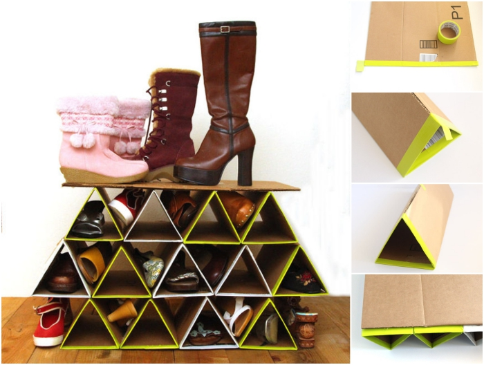 une étagère à chaussures diy fabriquée à partir du carton récupéré, aux accents jaune fluo et au design géométrique