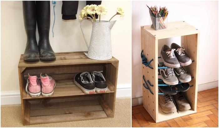 idée de petit meuble pour chaussure en bois récup, des astuces gain de place pour l'entrée