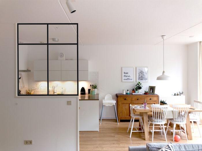 1001 id es s paration cuisine salon coulissez une for Separation de cuisine en verre