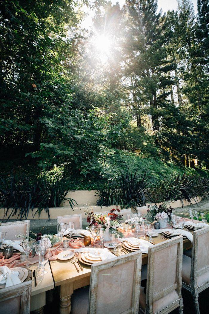 Pinterest mariage menu mariage idée élégant mariage déco table centre longue table bien rangée