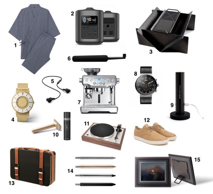 idée cadeau pour son père avec plusieurs accessoires de mode et outils smart, modèle de baskets beige à combiner avec un montre design