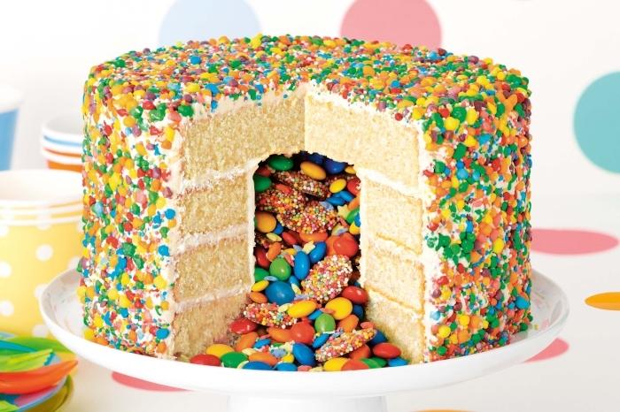 idée originale pour un gateau smarties multicolore à base de génoise nappé de crème au beurre et décoré de confettis de sucre aux couleurs de l'arc-en-ciel