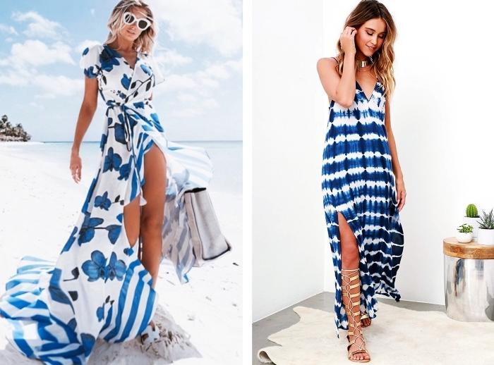 idée comment s'habiller pour vacances mer femme, modèle de robe longue courte devant avec chiffon long derrière