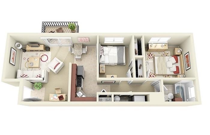 Aménagement studio 50m2 idée déco appartement moderne idée stylée modele 3d