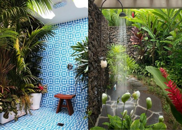 pinterest salle de bain, plantes exotiques, plante grimpante interieur, mur en mosaïque blanc et bleu, douche entourée de végétation exotique, plante qui absorbe l'humidité