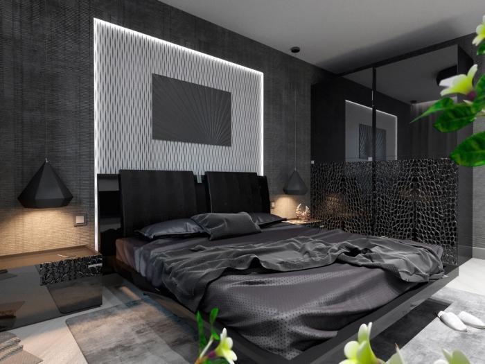 association de couleur gris souris avec noir et blanc dans une chambre adulte moderne aux murs foncés et plancher clair