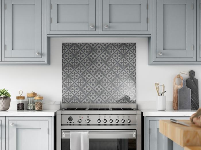 plaque carrée style credence type fond de hotte en verre décoré gris