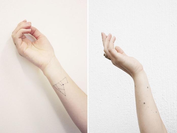 modele tatouage sur le thème d'astronomie, exemple de dessin en encre minimaliste aux motifs constellations et étoiles