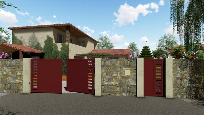 cloture en pierre apparente avec portillons rouges ajourés, villa contemporaine