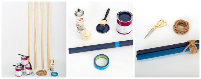 idée comment faire un porte manteau scandinave original en poteaux de bois colorés de peinture et assemblés en haut avec de la corde, style tipi