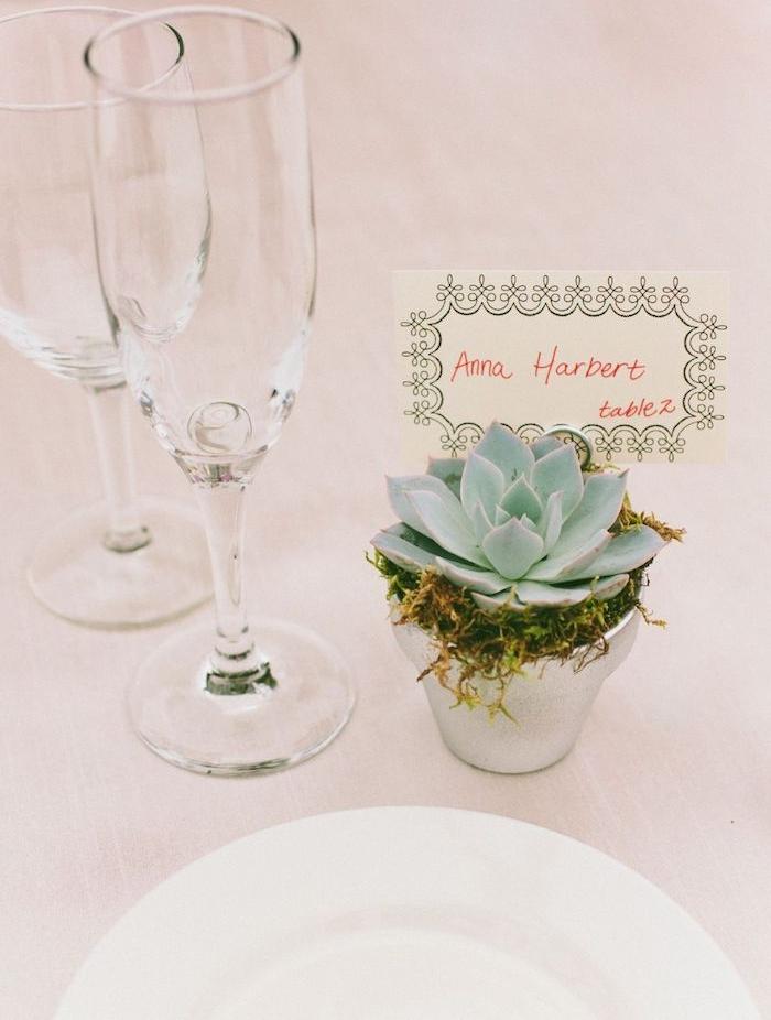 pot de fleur argenté succulent avec mousse et plante et étiquette prénom invité, nappe blanche, assiette blanche, verres de vin