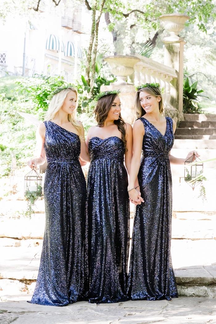 Tenue invitée mariage occasion spéciale robe habillée femme choisir son style robe paillettes bleu fonce