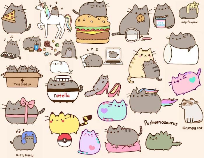 Dessin jolie modèle de dessin facile petit dessin mignon comment dessiner illustrations nutella chat pusheens differentes idées