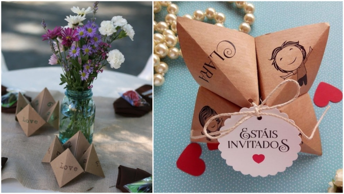 jolie décoration de table de mariage vintage à réaliser soi-même, un marque-place et un faire-part de mariage en forme de cocotte origami en papier kraft