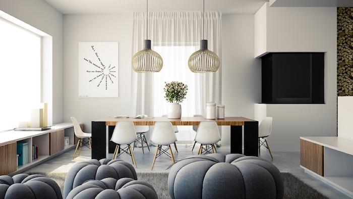 Aménager un salon en longueur décoration intérieure salon belle décoration moderne tabouret ronde