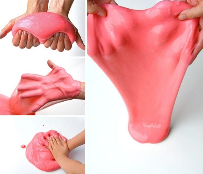 recette slime bien étirable et visqueux, idée de bricolage facile et amusant pour amuser les enfants