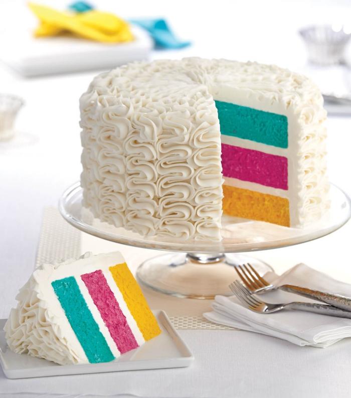 recette de gateau multicolore au look rétro avec sa décoration au glaçage blanc à froufrous