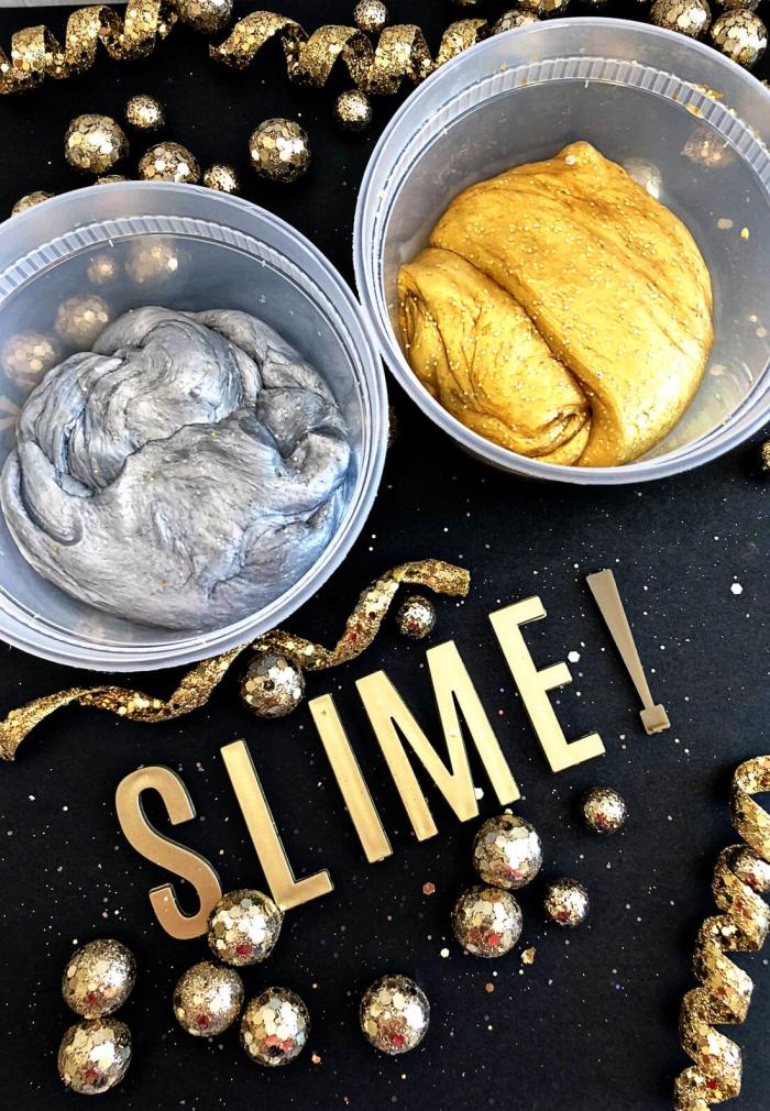recette diy pour fabriquer du slime argenté ou doré aux reflets métalisés pour les fêtes de la fin de l'année