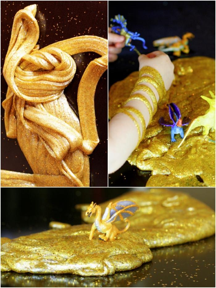 comment faire du slime avec de la colle liquide et de la fécule de maïs, recette de pâte gluante couleur or