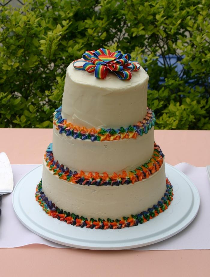 recette de wedding cake arc-en-ciel à trois étages décoré et surmonté d'un ruban multicolore décoré de glaçage multicolore sur les bords