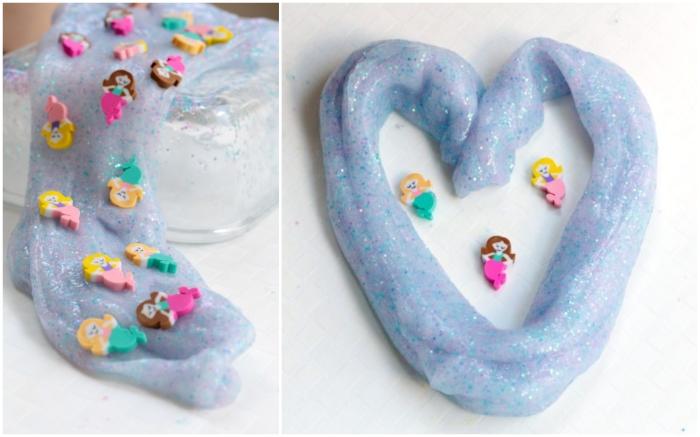 recette du slime sirène bleu à paillettes décoré avec des figurines